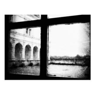 'Through the Window' Black and White French view Postcard