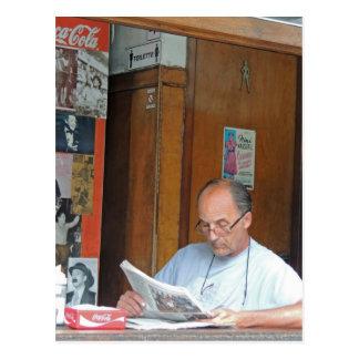 Through the Window - Man Reading his Newspaper Postcard