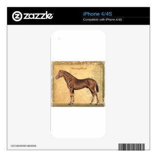 Throughbred Brown Horse Skins For iPhone 4