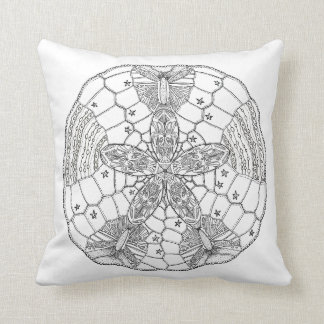 Throw black and white Pillow With Shell Design