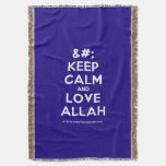 [No Crown] keep calm and love allah  Throw Blanket