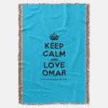 [Crown] keep calm and love omar  Throw Blanket