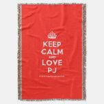 [Crown] keep calm and love pj  Throw Blanket