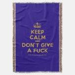 [Dancing crown] keep calm and don't give a fuck  Throw Blanket