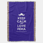 [Moustache] keep calm and love peha  Throw Blanket