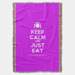 [Cutlery and plate] keep calm and just eat  Throw Blanket