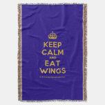 [Crown] keep calm and eat wings  Throw Blanket