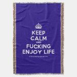 [Crown] keep calm and fucking enjoy life  Throw Blanket