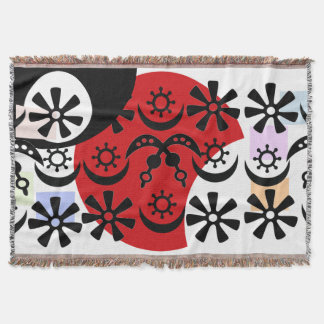 Throw blanket with symbols from West Africa.