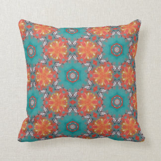Throw Cushion - Bright Multicolor Repeat Pattern Throw Pillow