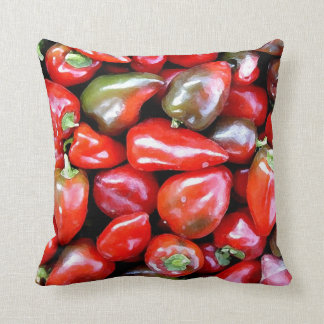 Throw Cushion with Hot Red Peppers Throw Pillows