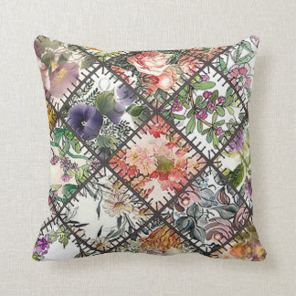 Throw Cushion with Patchwork Square Pillow