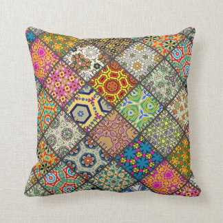 Throw Cushion with Patchwork Square Throw Pillow