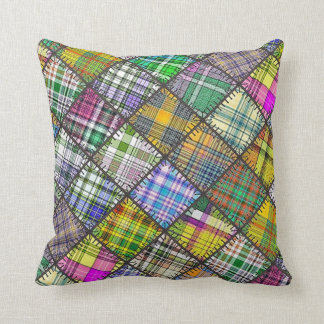 Throw Cushion with Patchwork Square Throw Pillows