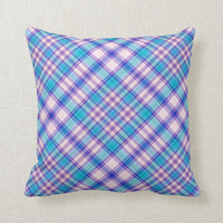 Throw Cushion with Plaid Design Pillow