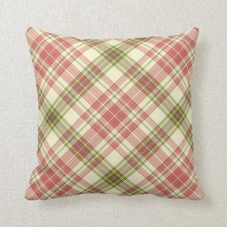 Throw Cushion with Plaid Design Throw Pillows