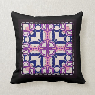 Throw Cushion with Stitched Tile Design Throw Pillow