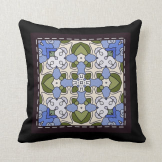 Throw Cushion with Stitched Tile Design Throw Pillows