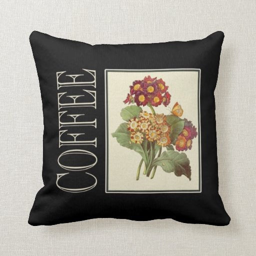 Throw Cushion with Vintage Coffe Print Pillow