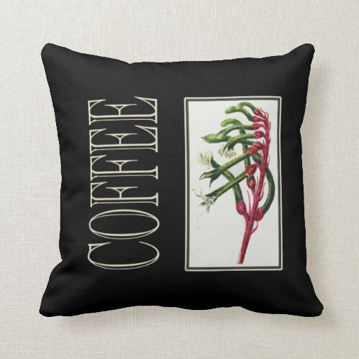 Throw Cushion with Vintage Coffe Print Throw Pillow