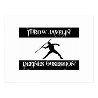 throw javelin design postcard