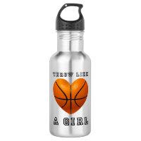 throw like a girl basketball water bottle