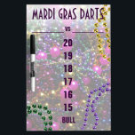 "&quot;throw me something, Mister!&quot; Dart SCOREBOARD Dry-Erase Board<br><div class=""desc"">Bring the fun of New Orleans&#39; Mardi Gras to YOUR gameroom with this Dart Scoreboard, and the coordinate dartboard (shown below). This Dry-Erase score-keeping board features the vibrant colors of the coveted &quot;throws&quot; from the carnival parades - BEADS! A tastefully small size, the board will complement your gameroom, without taking...</div>"