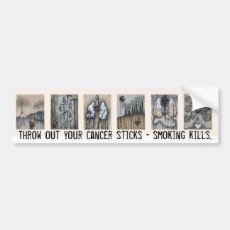 Throw out your cancer sticks - smoking kills. car bumper sticker