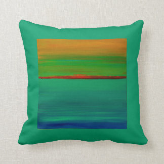 Throw Pillow Abstract Sunset Orange and Blue