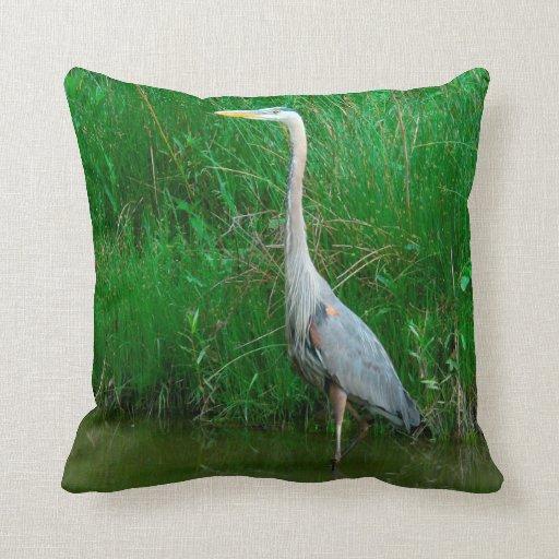Blue Heron Throw Pillows : THROW PILLOW/BLUE HERON/QUOTE ON BACK SIDE Zazzle