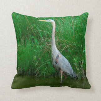 THROW PILLOW/BLUE HERON/QUOTE ON BACK SIDE THROW PILLOW