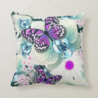 Throw Pillow/Butterflies, Orchids and Daisies Throw Pillow