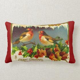 Throw pillow Christmas robins