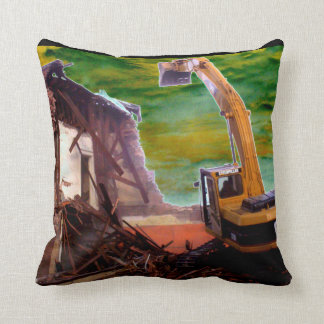 Throw Pillow contruction tearing down a building