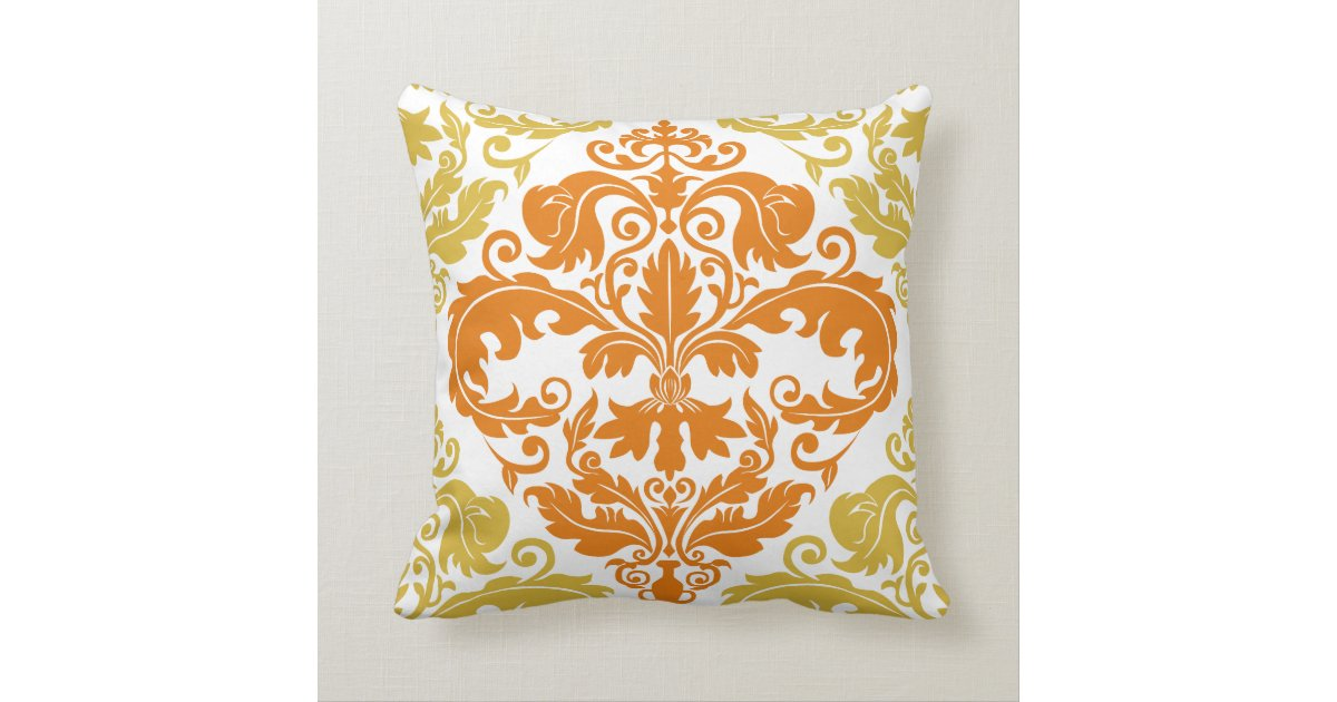 Throw Pillow - Damask Duo - Gold & Orange Zazzle