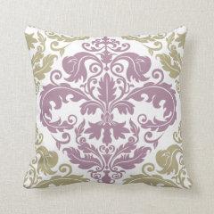 Throw Pillow - Damask Duo - Sage & Plum