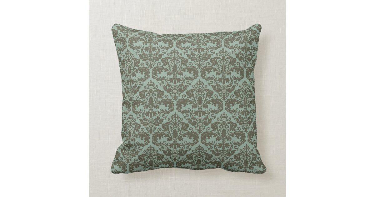 Throw Pillow Design Patterns : Throw Pillow - Damask Pattern (Sage) Zazzle