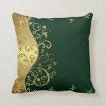 Throw Pillow--Dark Green & Gold Swirls