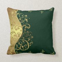 Throw Pillow--Dark Green & Gold Swirls Throw Pillow