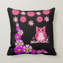 throw pillow decore floral owl