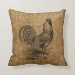 Throw Pillow Faux Burlap with Rooster Image
