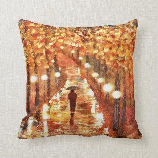 "Throw Pillow featuring ""A Walk In The Rain"""