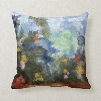 Throw Pillow, Flowered Path Watercolor Throw Pillow