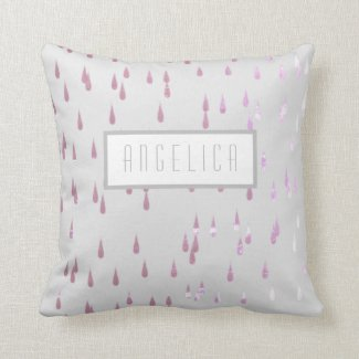 Throw Pillow Grey with name template