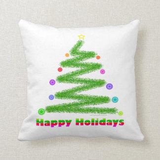 THROW PILLOW - HAPPY HOLIDAYS CHRISTMAS TREE ART
