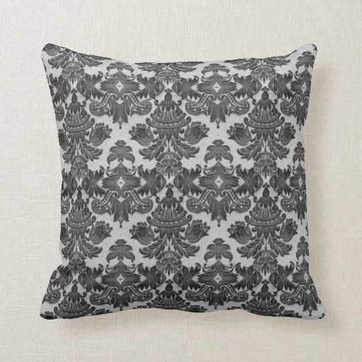 Black White And Gray Throw Pillows : Throw Pillow in Black and Gray Damask Zazzle