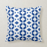 Throw Pillow in Deep Blue Pattern and White Bkgrd