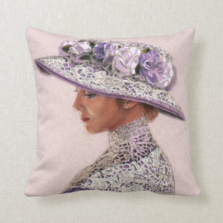 Throw Pillow Lavender Lace Victorian Lady Rose Hat