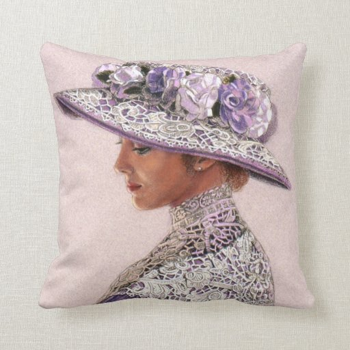 Victorian Lady Pillows : Throw Pillow Lavender Lace Victorian Lady Rose Hat Zazzle