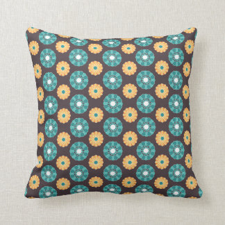 Throw Pillow - Modern Floral Motif (Teal & Gold)